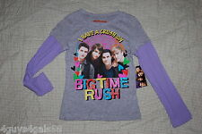 I HAVE A CRUSH ON BIG TIME RUSH Girls L/S Glitter T Shirt Purple GREY S 6-6X