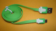 FLAT WHITE GREEN USB Charger DATA Cable for Barnes & Noble Nook Color Tablet