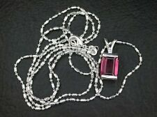 4.42 Ct Rectangle Pink Tourmaline Natural Gem Sterling Silver Pendant FREE Chain