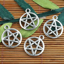 Alloy metal Tibetan Silver color round star charms 20pcs EF0108