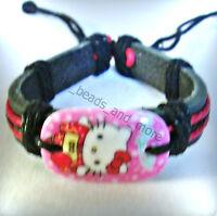 SALE Makramee Acryl Leder Armband Kitty verschiedene Varianten 15 - 25 cm