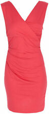 Diane Von Furstenberg $285 PARKER V-Neck Ruched Jersey Dress Red Currant NWT L