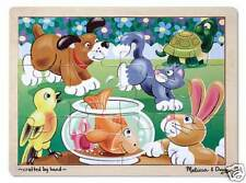 PLAYFUL PETS # 2932~12pc Wooden Tray Puzzle ~Melissa & and Doug