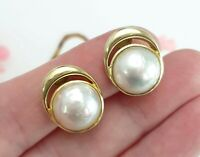 Vintage 14 Ct Gold Mabe Pearl Clip On Earrings - Hallmarked