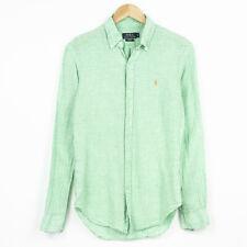 Polo Ralph Lauren Slim Fit Shirt Long Sleeve Check 100% linen Green Mens Size S