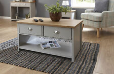 Grey Oak Coffee Table 2 Drawer Occasional Table D Cup Metal Handles Lancaster