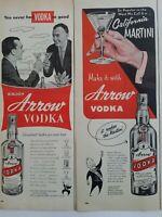 LOT 2 1953 1955 Arrow vodka bottles California martini vintage ad ads