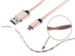 Schnellladekabel Micro USB Kabel 1m Metall f Samsung Galaxy A5 S5 S6 S7 Roségold