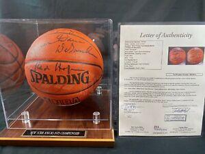 New York Knicks 1973 Champion Team 6x Signed Spalding Ball + Case w/ LOA by JSA