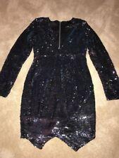 New Asos V Neck Petite Sequin V Neck Blue Dress Long Sleeve Body Con Sz 2 P