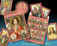 44 SCHÖNE ALTE HEILIGENBILDCHEN JESUS MARIA ENGEL 30er IN SCHÖNER TÜTE > SANTINI