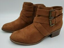 Girls Size 6 Maeko Fashion Boots Art Class Chestnut Brown Side Zip Low Heel