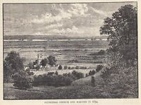 Plumstead Church And Marshes In 1854 1888 Old Antique Vintage Print JZ3.175