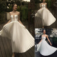 Women Pleated Dresses Evening Formal Party Ball Gown Prom Bridesmaid Maxi Dress