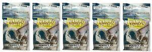 Lot of 5 Dragon Shield Perfect Fit Inner Sleeves Clear brand new 100 ct packages
