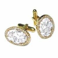 Gold-Tone CuffLinks Elliptical White Stones Mens Cuff Links