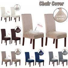 2Pcs Waterproof Suede Stretch Dining Chair Covers Seat Slipcover Wedding Banquet