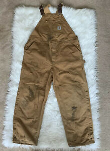 Vintage 90s Carhartt Duck Work Double Knee Overalls Bibs Distressed Tag 40x29