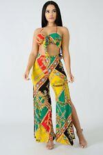 Jamaican Tribal De Color Rojo Verde Amarillo Gemas Halter cultivo Palazzo Pantalones Set S M L