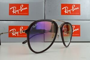 NEW Ray Ban RB4298 4298 6335S5 Chocolate Gold/Violet Grad Lens Sunglasses 57mm