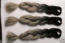 Synthetic Ombre 1/gray Braid Kanekalon Jumbo Braid 100gram 3PCS Free Shipping