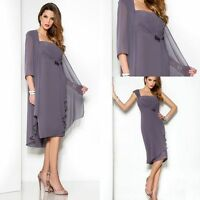 Plus Size 6-30 Mother Of The Bride Outfit Formal Mum Chiffon Dress With Jacket