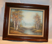 OIL PAINTING RIVER LANDSCAPE OIL ON CANVAS PAINTING SIGNED FRAMED
