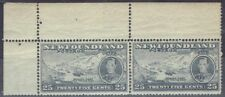 Canada - Newfoundland 1937 KGVI 25c top marginal pair with & without wmk