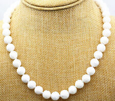 """10mm white Carving coral Tridacna Necklace 18 """"magnet buckle"""