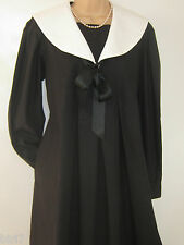 LAURA ASHLEY VINTAGE BLACK COTTON EDWARDIAN STYLE SAILOR SMOCK DRESS, 10  BNWT