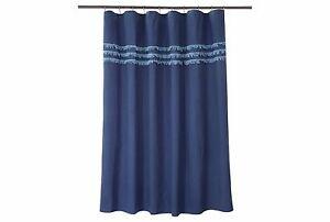New Threshold Blue Eyelash Fringe Linen Blend Fabric Shower Curtain 72x72