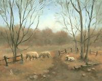 """Evening Pasture, Wooly Sheep"" Debra Sepos original oil 8x10"" farmyard landscape"