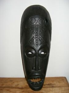 WOODEN WALL MASK INDONESIAN DESIGN BLACK  HAND CARVED TRIBAL MASK HOME DECOR