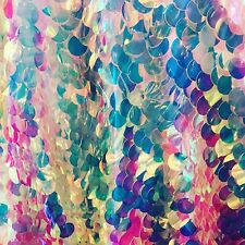 Iridescent 20mm Paillette Sequin On Non-stretch Mesh Base Sold By Yard