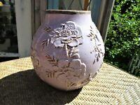 Vintage Raku Style Purple/ Lavender Stoneware Ceramic Pottery Vase