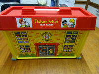 Vintage Fisher price play family childrens hospital with Ambulance & accessories