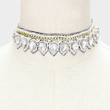 Crystal Clear Teardrop White Party Sequin Bead Bridal Choker Necklace Bohemian