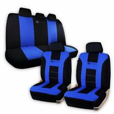 Zone Tech Universal Full Set Blue/Black Car Seat Covers Racing Style Split Bench