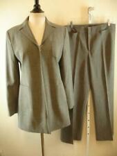 Womens 10 Zara Basic 2-Pc Suit Gray Knit Long Zip-Up Jacket Blazer Pants 32 X 32