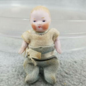 """2-3/4"""" antique all bisque German Miniature baby doll Dollhouse Bye-lo type"""