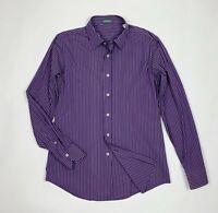 Benetton shirt camicia uomo usato used L a righe viola manica lunga T5500