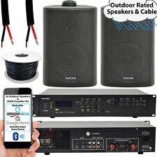 400W LOUD Outdoor Bluetooth System –2x Black Speaker– Weatherproof Garden Music