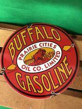 VINTAGE HEAVY BUFFALO GOLINE PORCELAIN ENAMEL PUMP METAL GAS SIGN MOTOR OIL