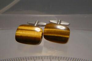 60er Jahre Manschettenknöpfe Tigerauge Cabochon 835 Silber aufpoliert  12,7 g