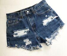 LEVI'S womens size L 505 High Waisted Distressed Cutoffs Denim Jean Shorts