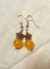 Fashion Earrings yellow topas, bronze flower and silver hook