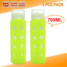 2X OFFICE SCHOOL GLASS WATER BOTTLE OUTBACK OUTDOOR CAMPING CYCLING SPORT GYM