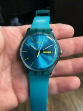 Swatch Watch Rebel SUOL700 Turquoise Silicone Swiss Quartz Fashion Working