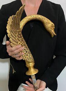 "RARE Vintage Designer Solid Brass Architectural Salvage Swan Sink Tub Faucet 16"""