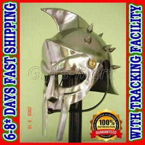 Maximus Gladiator Helmet +Adjustable Leather Liner & Chin Strap Fancy Costume
